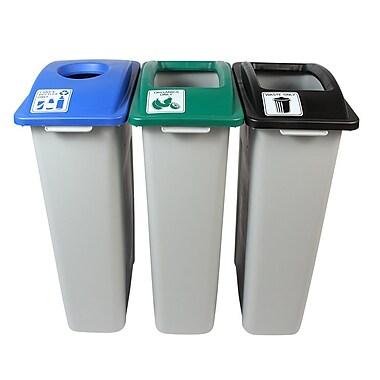 Waste Watcher Cans, Bottles and Organics Circle Triple 69 Gallon 3 Piece Recycling Bin Set