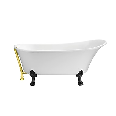StreamlineBath 67'' x 31.5'' Freestanding Soaking Bathtub; Gold