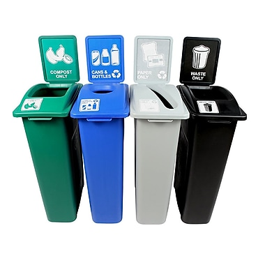 Waste Watcher Paper, Cans and Bottles Slot Compost Circle 92 Gallon 4 Piece Recycling Bin Set