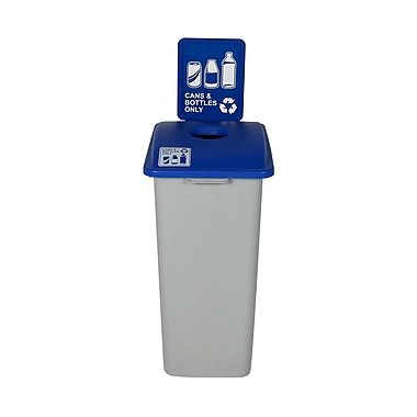 Busch Systems Waste Watcher Cans and Bottle Circle Single 32 Gallon Recycling Bin; Gray/Blue