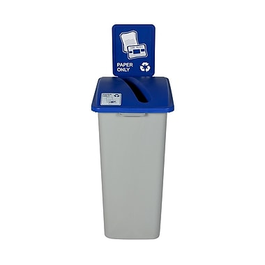 Busch Systems Waste Watcher Paper Slot Single 32 Gallon Recycling Bin; Gray/Blue