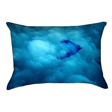 Latitude Run Hansard Watercolor Bird and Sky Lumbar Pillow; Poly Twill