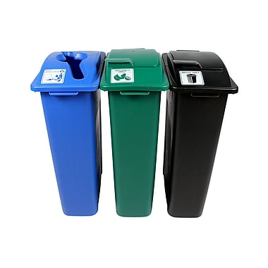 Waste Watcher Organics and Mixed Recyclables Solid Lift Triple 69 Gallon 3 Piece Recycling Bin Set