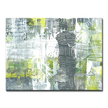 Corrigan Studio 'Gray and Yellow Dashes' Acrylic Painting Print on Canvas; 20'' H x 60'' W