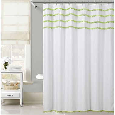 Bungalow Rose Freya Lace Border Shower Curtain; Green