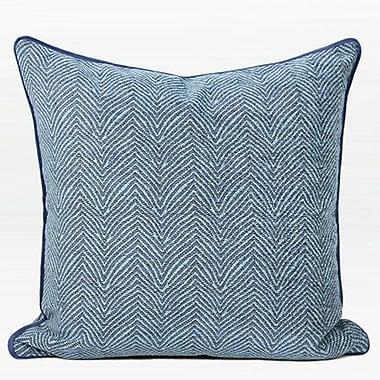 Bungalow Rose Shanti Chevron Jacquard Pillow Cover; Blue