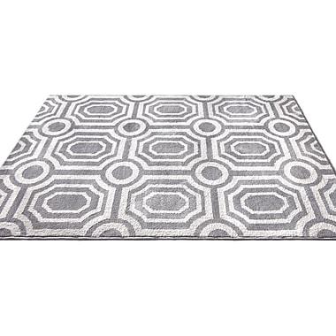 Ivy Bronx Dority Modern Mosaic Tile Work Gray/Beige Area Rug; 7'10'' x 9'10''