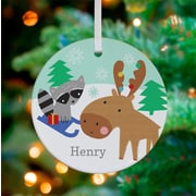 Oopsy Daisy Personalized Moose and Raccoon Sled Ride Hanging Ornament