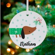 Oopsy Daisy Personalized Dog and Mistletoe Hanging Ornament