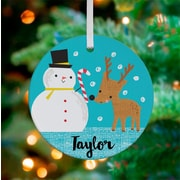 Oopsy Daisy Personalized Snowman and Deer Friend Hanging Ornament