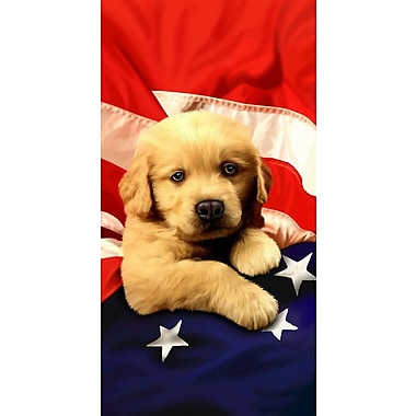 East Urban Home Puppy American Flag Velour Premium Beach Towel
