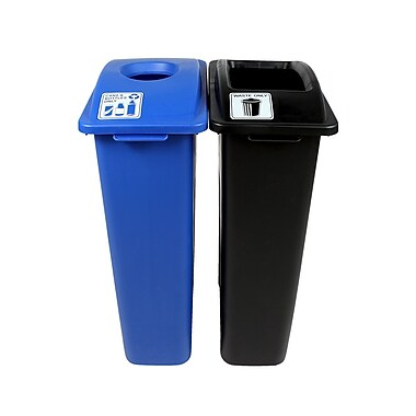 Waste Watcher Cans and Bottles Double 46 Gallon 2 Piece Recycling Bin and Trash Can Set