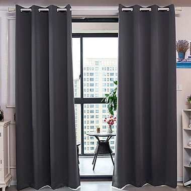 Ebern Designs Elinore Solid Blackout Thermal Grommet Curtain Panels; 52'' W x 84'' L