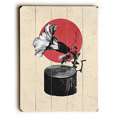 East Urban Home 'Gramophone' Graphic Art Print on Wood; 34'' H x 25'' W
