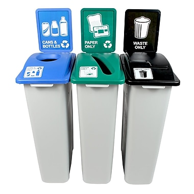 Waste Watcher Paper, Cans and Bottles Circle Solid Lift 69 Gallon Recycling Bin Set (Set of 3)