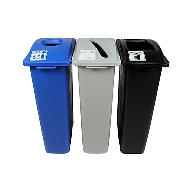 Waste Watcher Paper, Cans and Bottles Slot Circle Triple 69 Gallon 3 Piece Recycling Bin Set