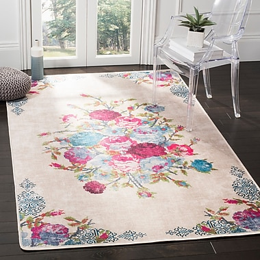 Bungalow Rose Janiyah Floral and Plants Ivory Area Rug; 5'1'' x 7'6''