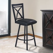Orren Ellis Bonnett 26'' Swivel Bar Stool w/ Cushion; Black