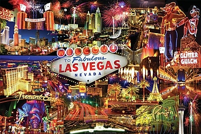 Ebern Designs 'Las Vegas Collage of Photographs and Landmarks' Graphic Art Print on Wrapped Canvas