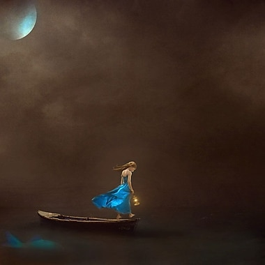 Ebern Designs 'Single-Lady Under the Moon in a Boat' Framed Graphic Art on Wrapped Canvas
