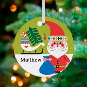 Oopsy Daisy Personalized Holiday Forest Santa Hanging Ornament