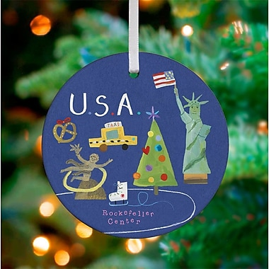 Oopsy Daisy Personalized Wander the World USA Hanging Ornament