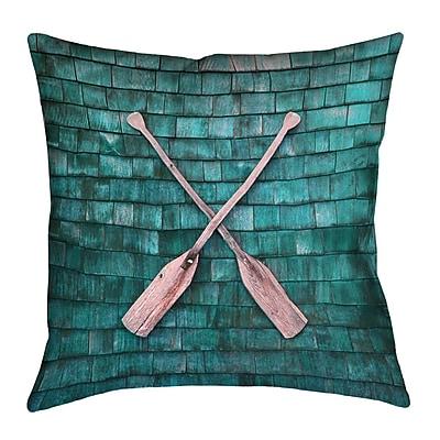 Loon Peak Brushton Rustic Oars Outdoor Pillow; 16'' x 16''