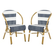 Bungalow Rose Ouatchia Striped French Bistro Stacking Patio Dining Chair (Set of 2)