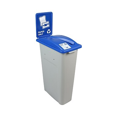 Busch Systems Waste Watcher Paper Slot Single 23 Gallon Recycling Bin; Gray/Blue
