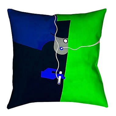 Latitude Run Hansard Vintage Art Poster Euro Pillow; Blue/Green