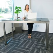 Latitude Run Oanh Adjustable Height Motorized Standing Desk; Gloss Black