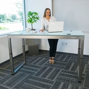 Latitude Run Oanh Adjustable Height Motorized Standing Desk; Gloss White
