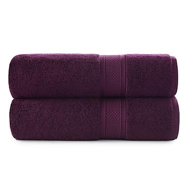 Red Barrel Studio Luxury Rayon Bath Towel Set (Set of 2); Purple Oxford