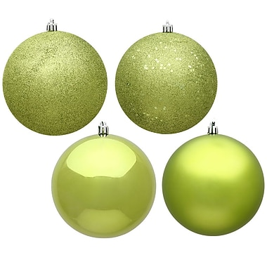 The Holiday Aisle 4 Piece Christmas Ball Ornament (Set of 4); Lime