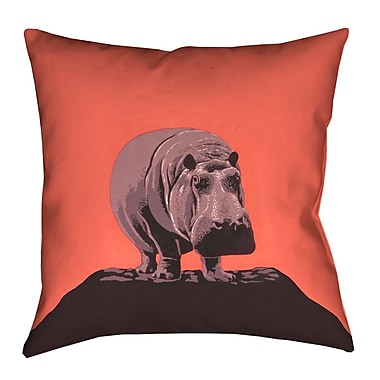 Latitude Run Hansard Vintage Hippo Zoo Poster 100pct Cotton Euro Pillow; Red