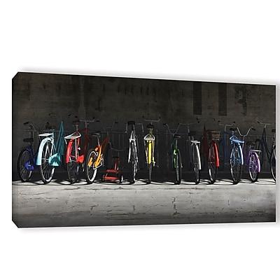 Ebern Designs 'Bike Rack' Photographic Print on Wrapped Canvas; 18'' H x 36'' W x 2'' D