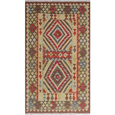 Loon Peak Vallejo Kilim Asiye Hand-Woven Wool Red Area Rug