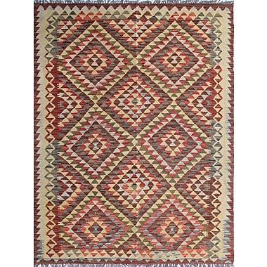 Loon Peak Vallejo Kilim Tahira Hand-Woven Wool Brown Area Rug