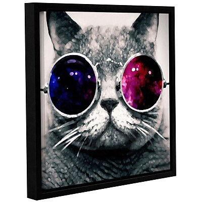 Ivy Bronx 'Cat w/ Sunglasses' Framed Graphic Art; 14'' H x 14'' W x 2'' D