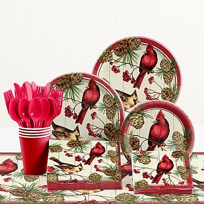Creative Converting Winter Cardinal Paper and Plastic Tableware Kit WYF078281902403