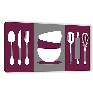 Latitude Run 'Kitchen Utensils' Graphic Art on Wrapped Canvas; 18'' H x 36'' W x 2'' D