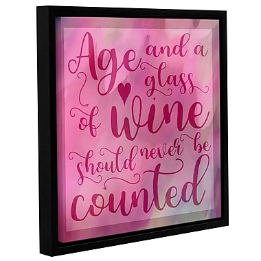 Latitude Run 'Age and Wine' Framed Textual Art on Wrapped Canvas; 10'' H x 10'' W x 2'' D