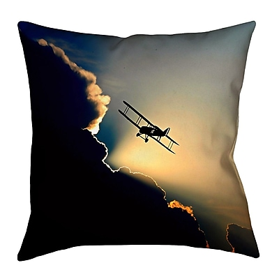 East Urban Home Plane in the Clouds Square Pillow Cover; 14'' x 14''