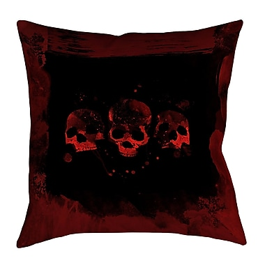 East Urban Home Spooky Watercolor Skulls Square Throw Pillow; 14'' x 14''