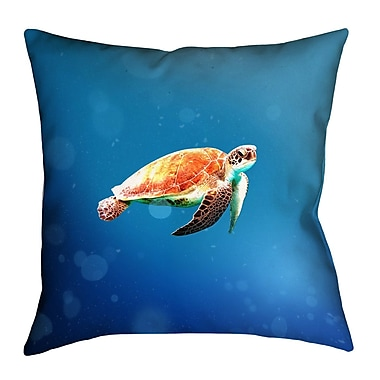 East Urban Home Sea Turtle Linen Throw Pillow; 16'' x 16''