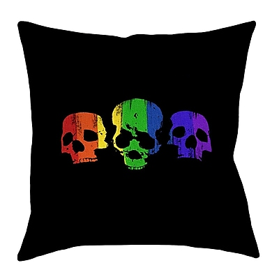 East Urban Home Rainbow Skulls Linen Euro Pillow