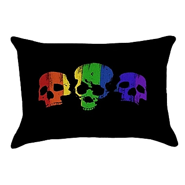 East Urban Home Rainbow Skulls 100pct Cotton Lumbar Pillow