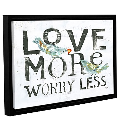 August Grove 'Love More Worry Less' Framed Textual Art on Canvas; 16'' H x 24'' W x 2'' D