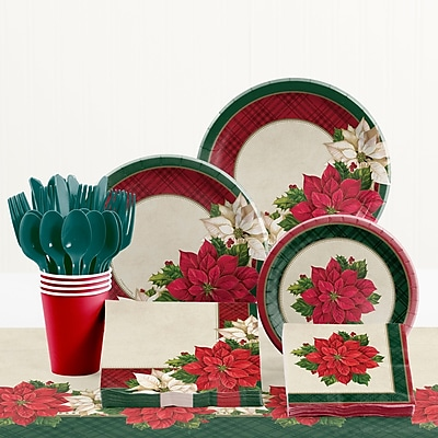 Creative Converting Plaid Poinsettia Paper and Plastic Tableware Kit WYF078281902411