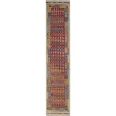 Loon Peak Vallejo Kilim Shan Hand-Woven Wool Red Area Rug